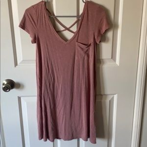 Short sleeve soft long dress with crisscross back